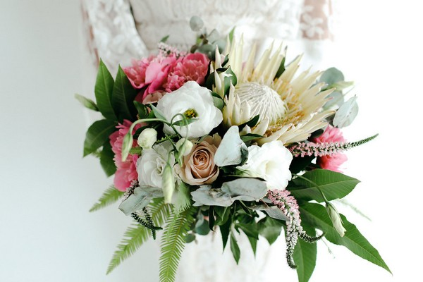 Bridal bouquet with large white and pink flowers