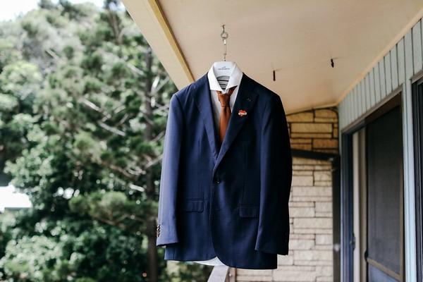 Groom's suit hanging