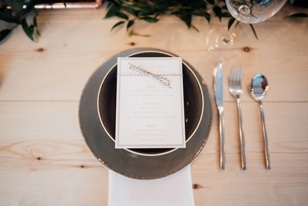 Wedding menu at place setting