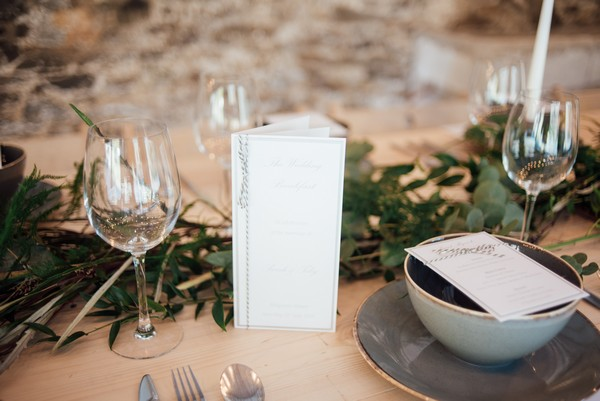 White and silver wedding table stationery