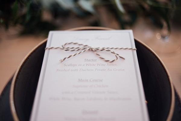 Wedding menu with string detail