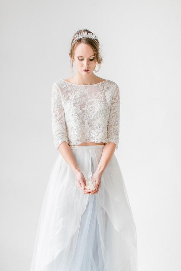 Bride holding quartz crystal