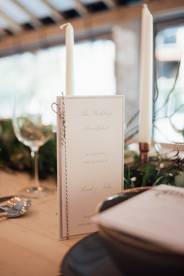 Wedding table stationery with string detail