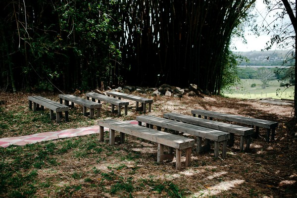 Outdoor bench wedding ceremony seating
