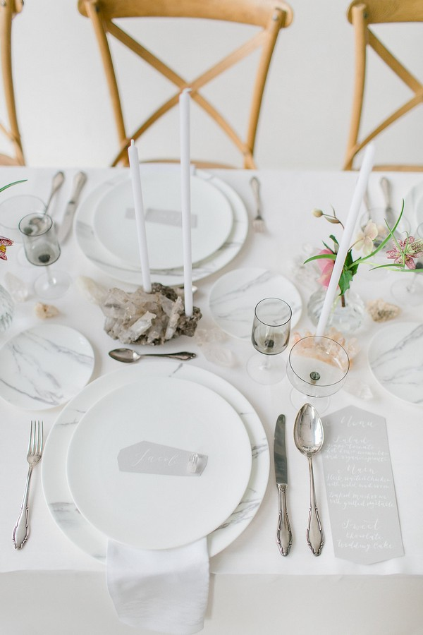 Wedding table with quartz crystal styling