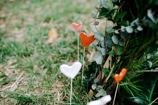 Hearts pegged into ground