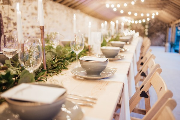 Long wedding table with rustic styling