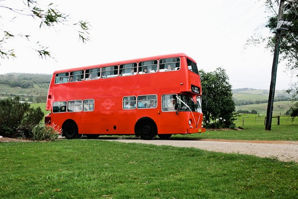 Red bus arriving at Graciosa wedding