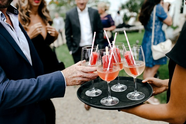 Wedding drinks with ice lollies in