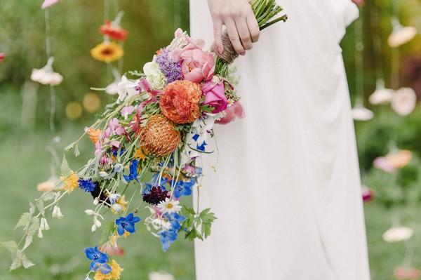 Bright, colourful wedding bouquet