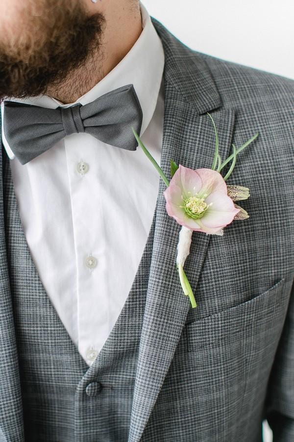 Groom's hellebore buttonhole