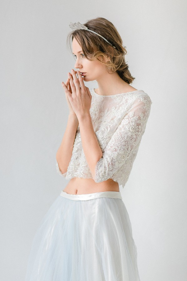 Bride wearing lace detailed crop top