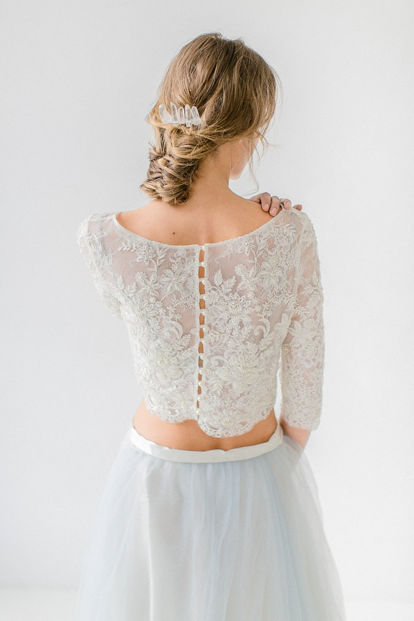Back of lace bridal crop top