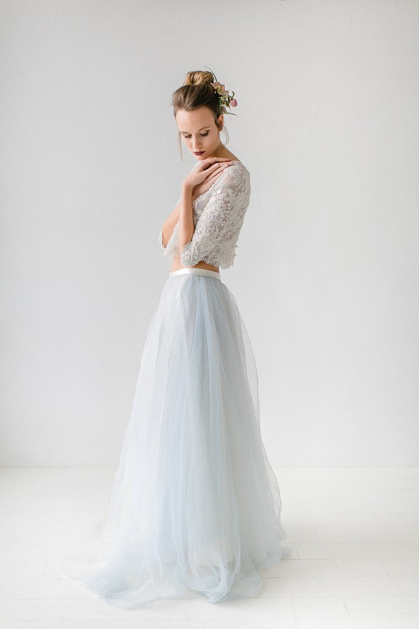 Side view of bride's two-piece wedding dress