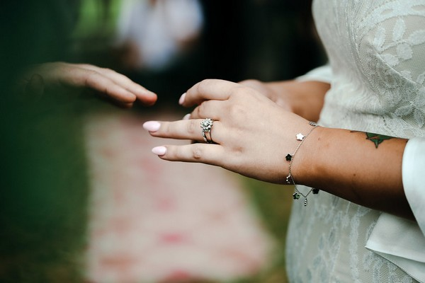 Bride about to put ring on groom's finger