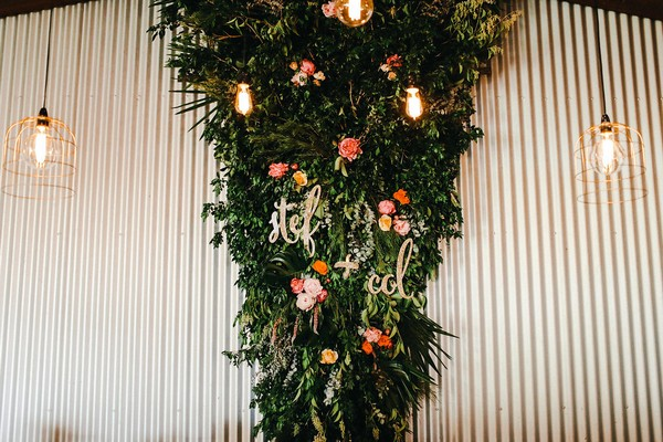 Foliage and flower wall display