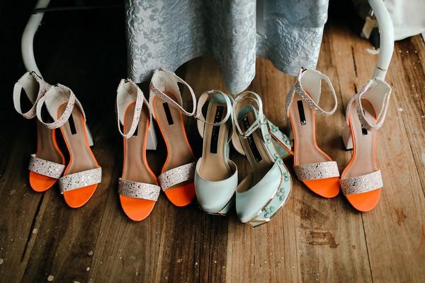 Bride and bridesmaid shoes