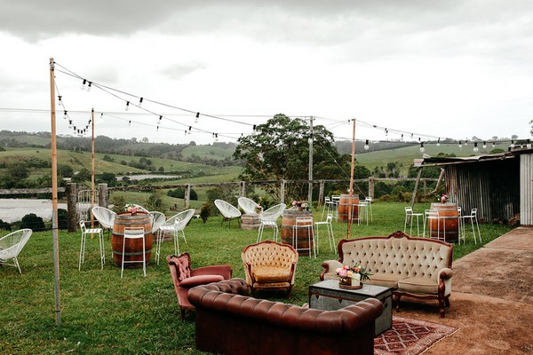 Outdoor wedding chill out seating