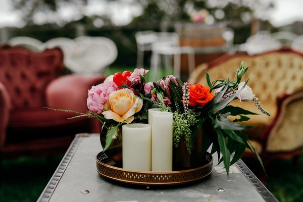 Table candles and flowers