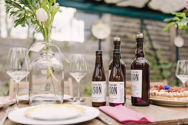 Bottles on wedding table