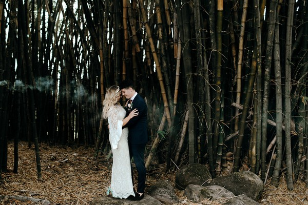 Bride and groom by trees at Graciosa