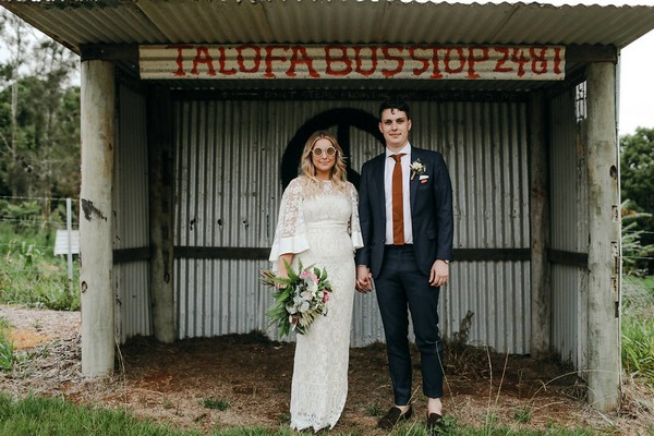 Bride and groom standing under shelter at Graciosa