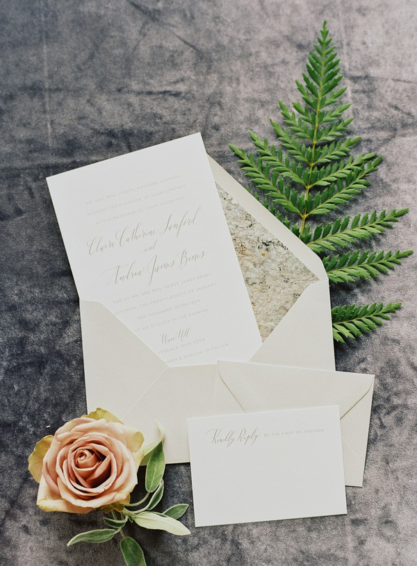 Wedding stationery with calligraphy