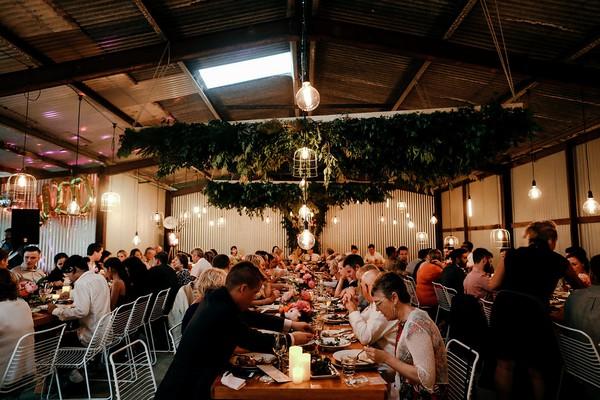 Wedding breakfast in barn at Graciosa