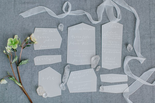 Wedding stationery with ribbons and quartz crystals