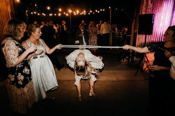 Bride limbo dancing