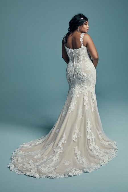 Back of Abbie Lynette Plus Size Wedding Dress from the Maggie Sottero Lucienne Fall 2018 Bridal Collection