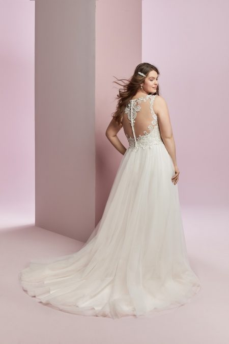 Back of Amanda Plus Size Wedding Dress from the Rebecca Ingram Camille Fall 2018 Bridal Collection