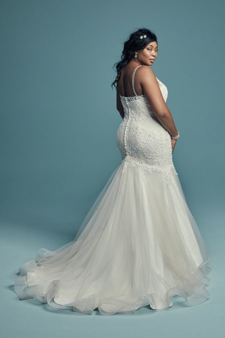 Back of Ariella Marie Plus Size Wedding Dress from the Maggie Sottero Lucienne Fall 2018 Bridal Collection