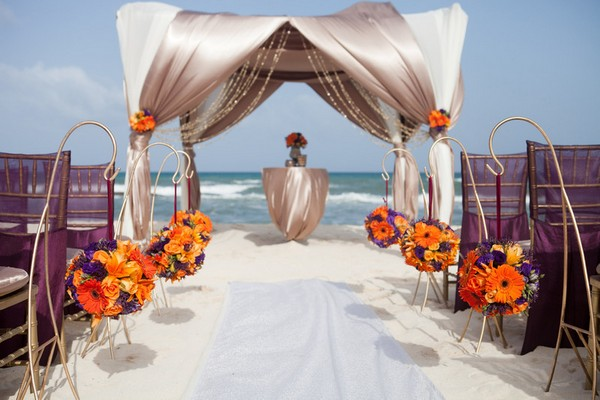Beach Wedding Ceremony Seating at Azul Fives, Mexico