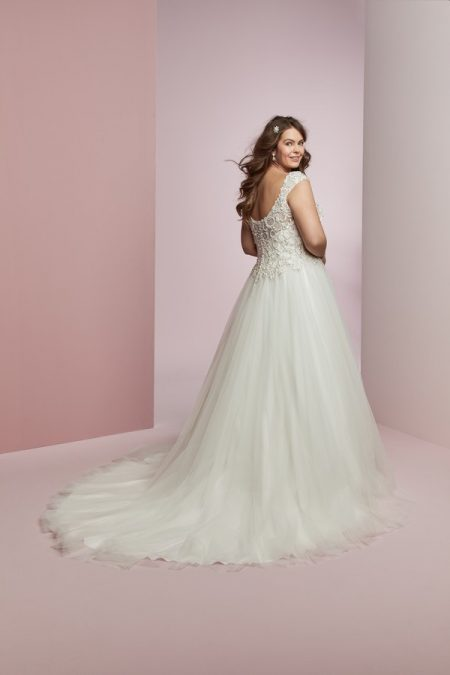 Back of Bella Plus Size Wedding Dress from the Rebecca Ingram Camille Fall 2018 Bridal Collection