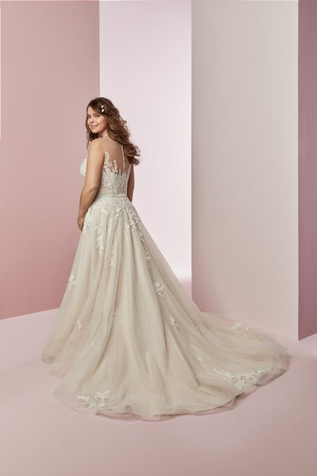 Back of Camille Anne Plus Size Wedding Dress from the Rebecca Ingram Camille Fall 2018 Bridal Collection