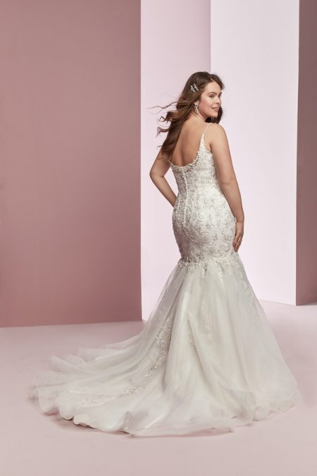 Back of Claire Anne Plus Size Wedding Dress from the Rebecca Ingram Camille Fall 2018 Bridal Collection