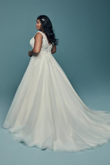 Back of Eden Plus Size Wedding Dress from the Maggie Sottero Lucienne Fall 2018 Bridal Collection
