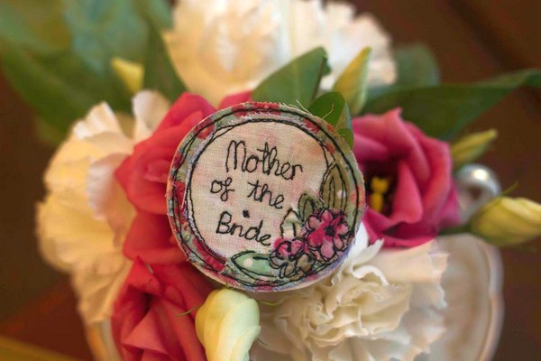 Embroidered mother of the bride badge