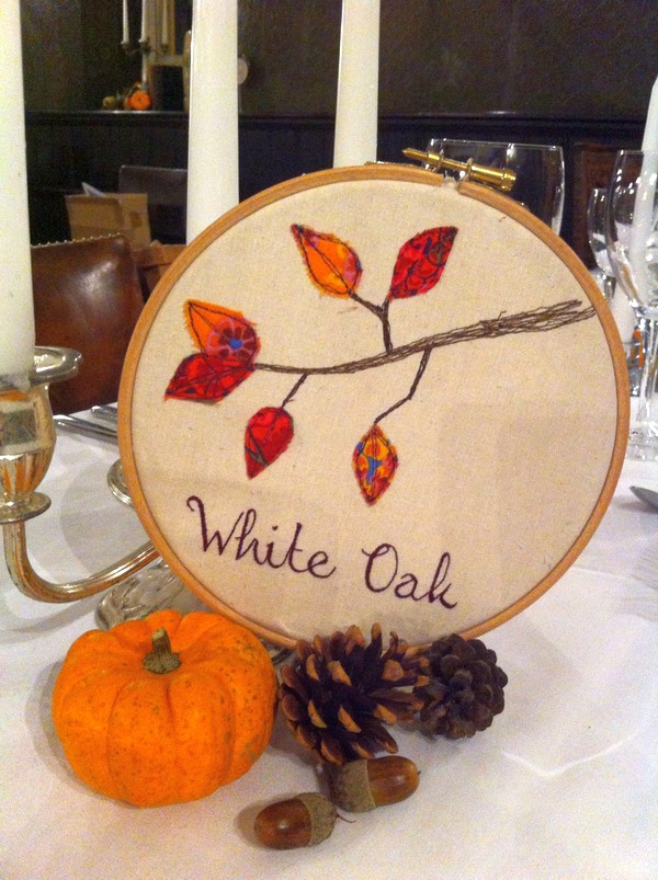 Embroidered wedding table name