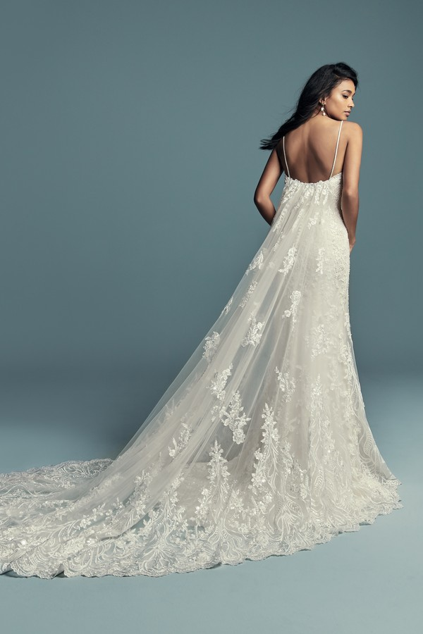 Back of Gwendolyn Wedding Dress with Train from the Maggie Sottero Lucienne Fall 2018 Bridal Collection