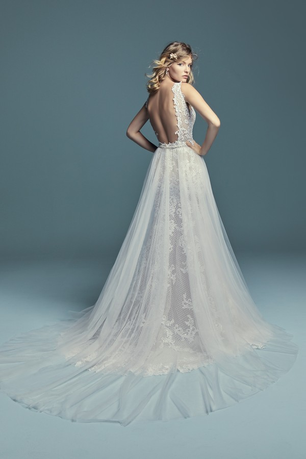 Back of Hailey Marie Wedding Dress with Overskirt from the Maggie Sottero Lucienne Fall 2018 Bridal Collection