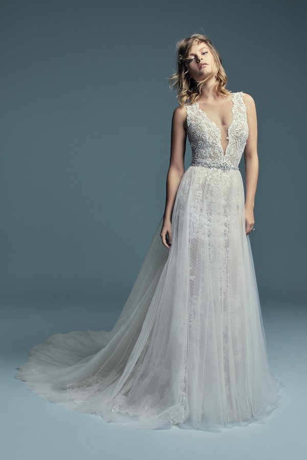 Hailey Marie Wedding Dress with Overskirt from the Maggie Sottero Lucienne Fall 2018 Bridal Collection
