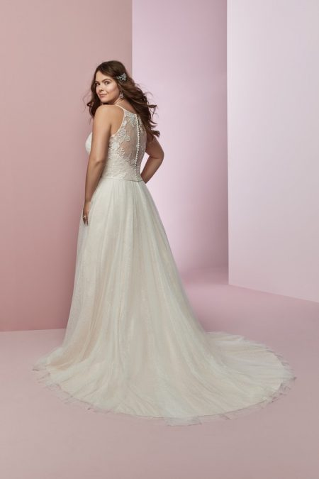 Back of Heidi Plus Size Wedding Dress from the Rebecca Ingram Camille Fall 2018 Bridal Collection
