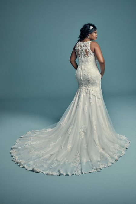 Back of Kendall Lynette Plus Size Wedding Dress from the Maggie Sottero Lucienne Fall 2018 Bridal Collection