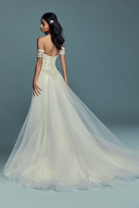Back of Kimbra Wedding Dress with Train from the Maggie Sottero Lucienne Fall 2018 Bridal Collection