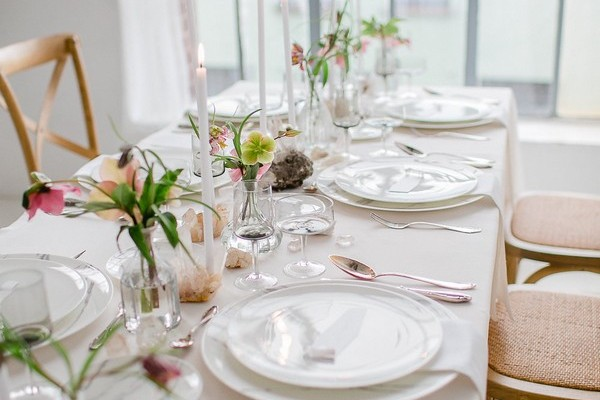 Wedding table styling with hellebore and quartz crystals