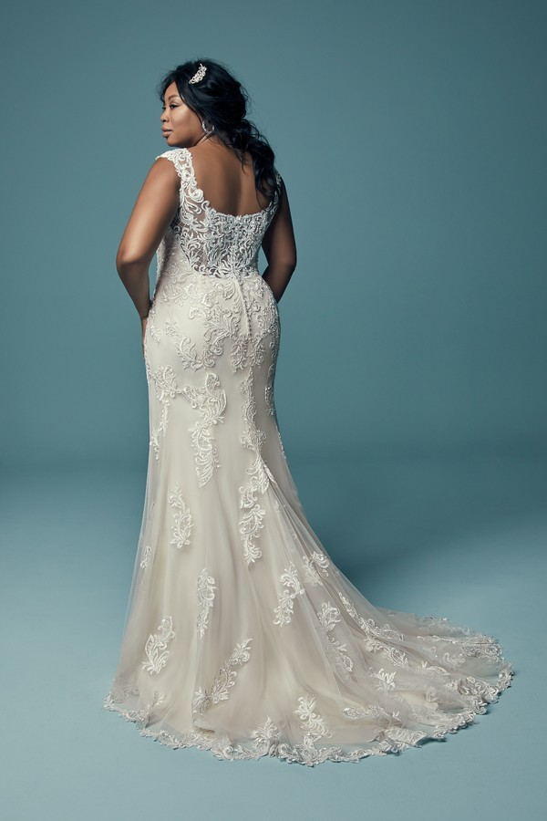 Back of Rosanna Plus Size Wedding Dress from the Maggie Sottero Lucienne Fall 2018 Bridal Collection