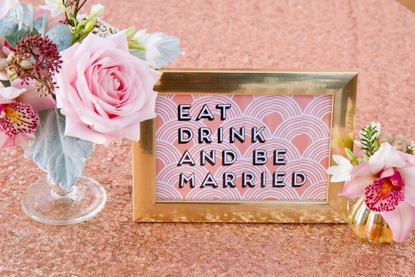 Sign on sequin tablecloth