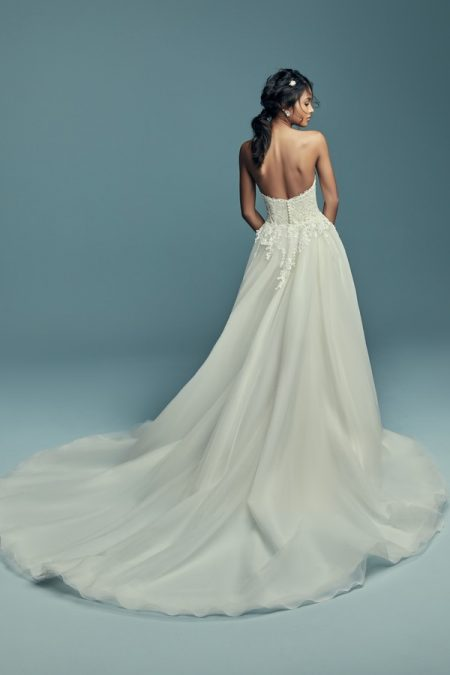 Back of Stephanie Wedding Dress with Train from the Maggie Sottero Lucienne Fall 2018 Bridal Collection